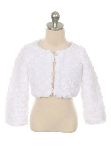 Soft White Bolero With Pearl Button Closure