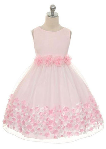 Mesh Girls Dress with Taffeta Flowers