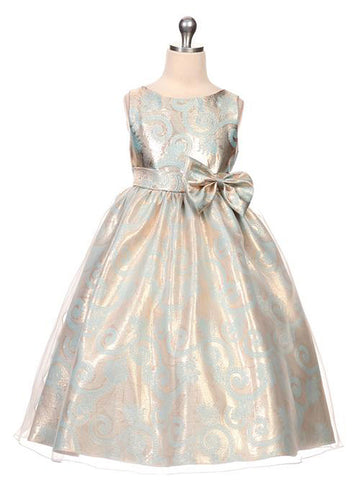 Silver Jacquard Dress with Organza Overlay