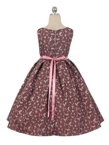 Floral Jacquard Dress Satin Sash