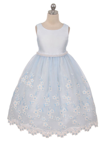 Scalloped Edge Flower Girl Dress with Pearl Trim