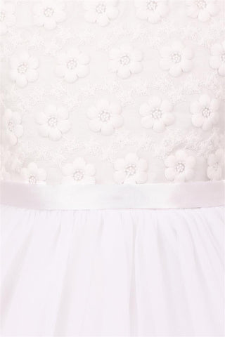 Flower Embroidery Top with Tulle Dress
