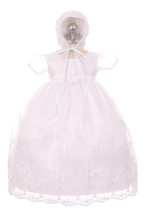 Organza Baby Dress with Sweet Lace Applique