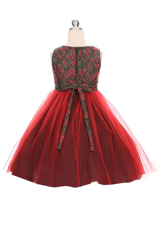Red and Green Jacquard Dress with Tulle Skirt