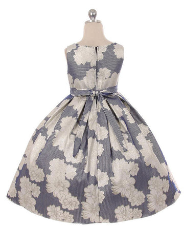 Large Floral Print Jacquard Dress