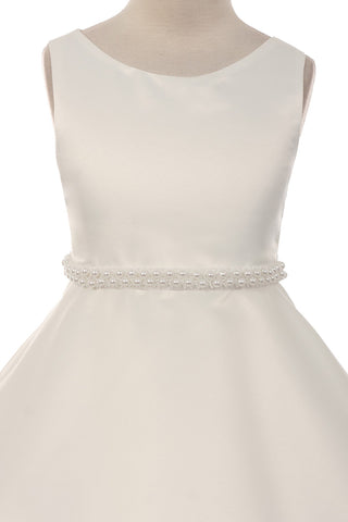 Classic Long A-line Satin Communion Dress