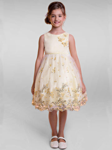 Mesh Dress with a Gorgeous Metallic Butterfly Embroidery