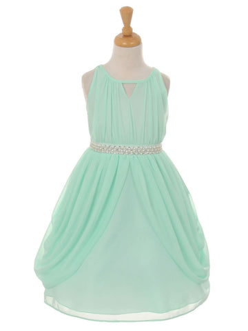 Chiffon Gathered Dress with Pear Belt