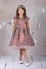 Brocade Peek-A-Boo Tulle High-Low Dress