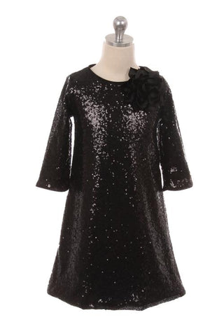 Sequin Three-quarter Sleeve Dress