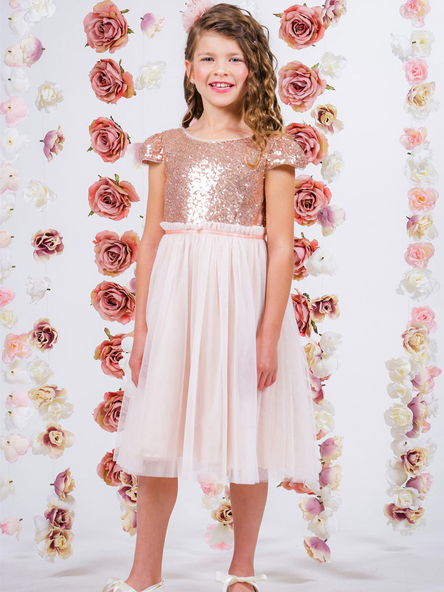 Sweet Sequin Bodice with cap sleeves Flower Girl Dress