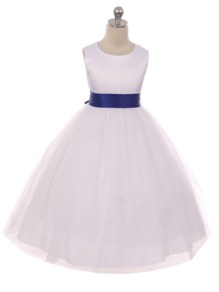Classic Satin And Tulle Flower Girl Dress Just Unique Boutique