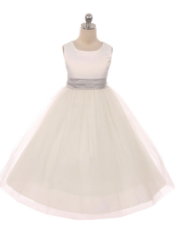 Classic Satin and Tulle Flower Girl Dress