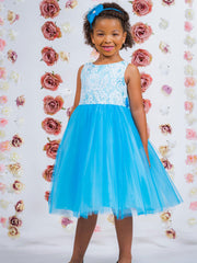 Lace Bodice Flower Girl Dress with Tulle Skirt
