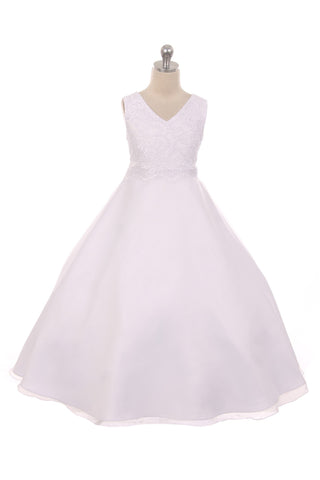 Lace Appliqué Bodice Communion Dress