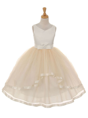 Satin and Tulle Layered Dress with Satin Bow
