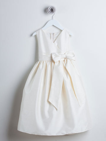 Beautiful Ivory V-neck Dupioni Dress