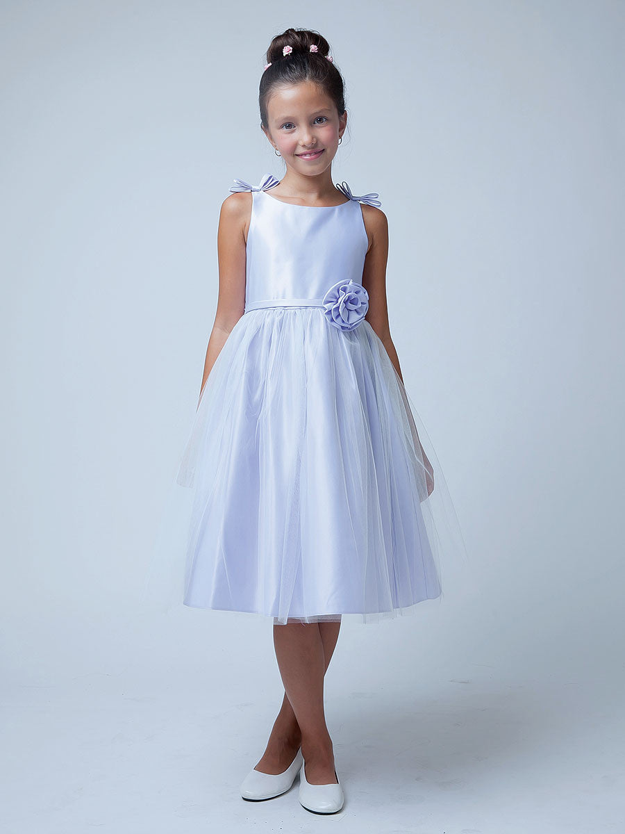 Sweet Lilac Satin And Tulle Flower Girl Dress Just Unique Boutique