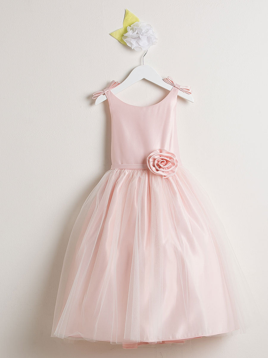 Sweet Pink Satin And Tulle Flower Girl Dress Just Unique Boutique