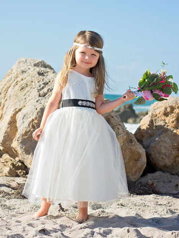 Tulle Jacquard Bodice Flower Girl Dress With Rhinestone Belt