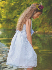 Silver Solid Lace Flower Girl Dress with Satin Ribbon