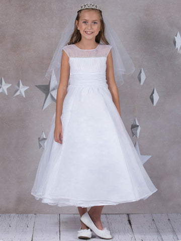 Pearl Trim Satin Organza Overlay Dress