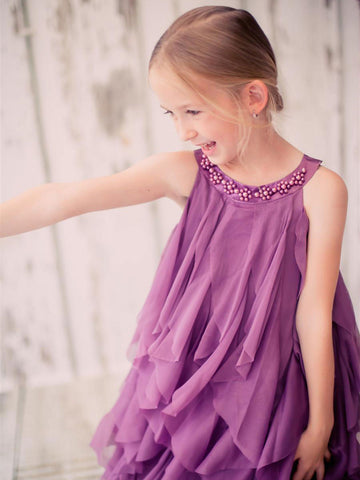 Gorgeous Eggplant Mesh Ruffle Dress