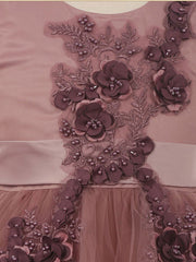 Elegant 3D pearl flower satin tulle mesh wired dress