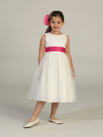 Beautiful Jacquard Bodice with Tulle Skirt Flower Girl Dress