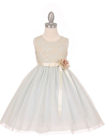 Elegant Contrast 3D Stretch Lace Tulle Flower Girl Dress