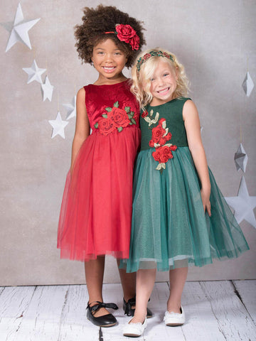 Wool Top Holiday Dress with Tulle Skirt