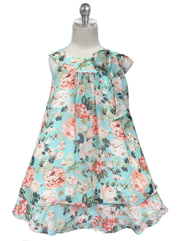 Floral Chiffon Dress with Bow
