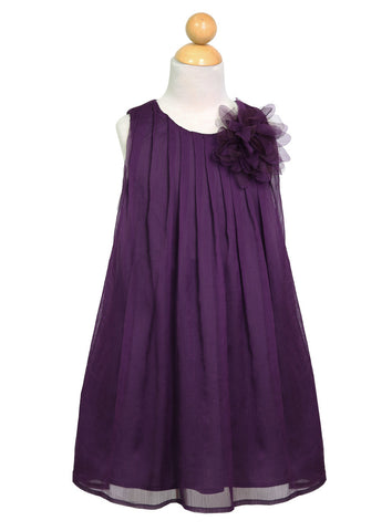 Chiffon Pleaded Dress with Flower