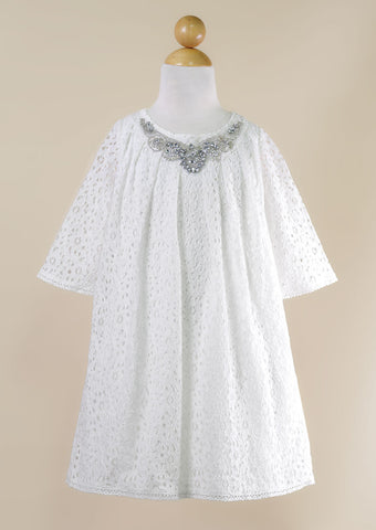Off White Lace Dress with Rhinestone Neckline