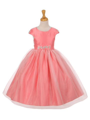 Cap Sleeves Satin Dress with Tulle Skirt
