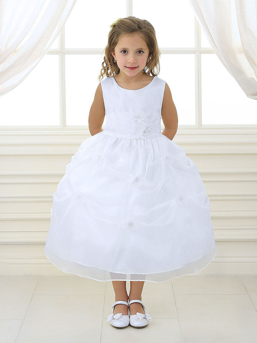 Satin Flower Girl Dress With Gathered Skirt Just Unique Boutique