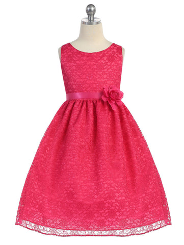Solid Lace Flower Girl Dress with Satin Ribbon