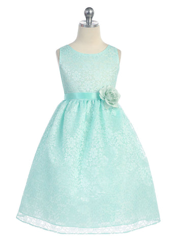 Ivory Solid Lace Flower Girl Dress with Satin Ribbon