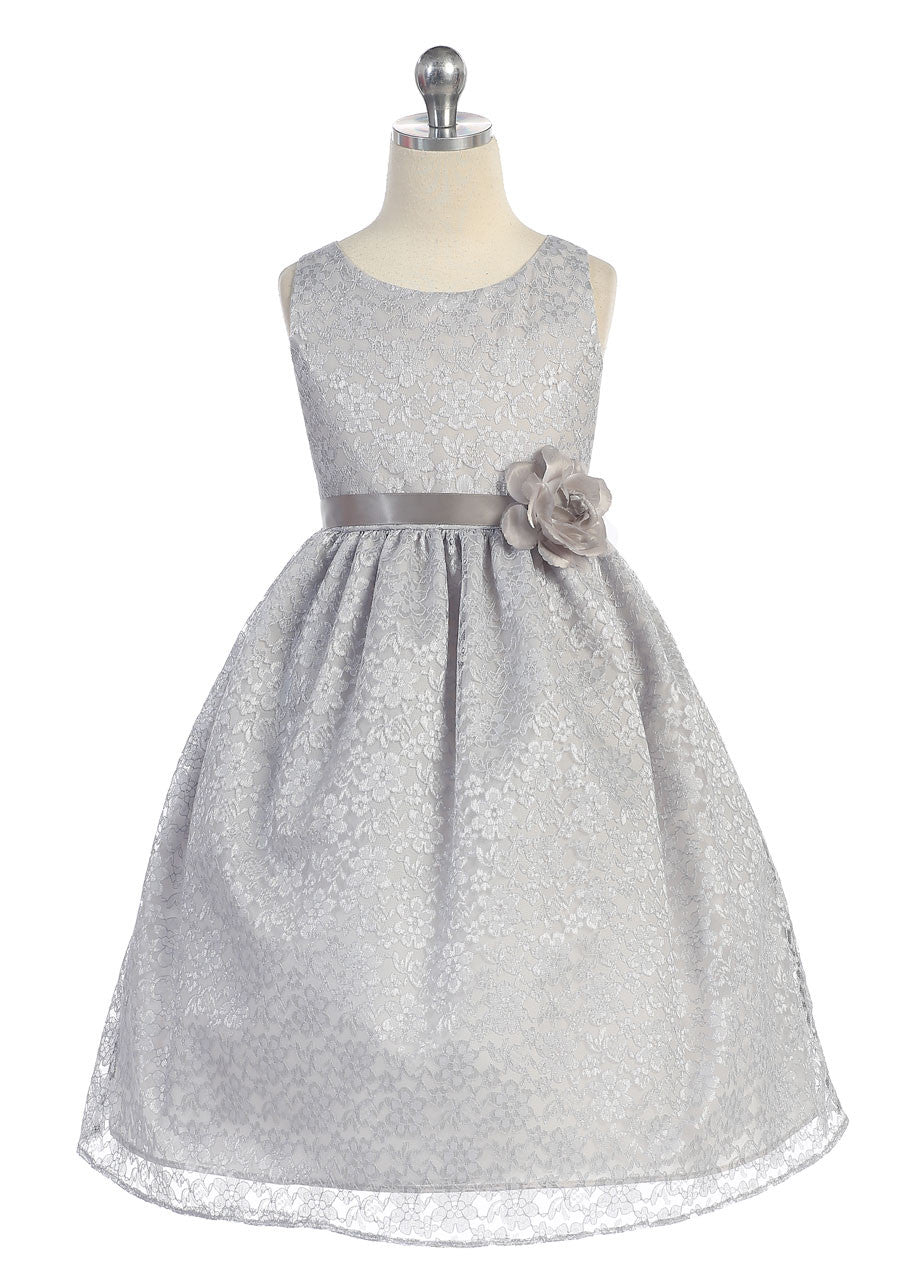 Yellow Solid Lace Flower Girl Dress With Satin Ribbon Just Unique