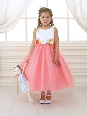 Satin & Tulle Dress with Floral Belt
