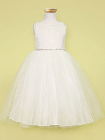 Princess inspired tulle dress with beaded waistband