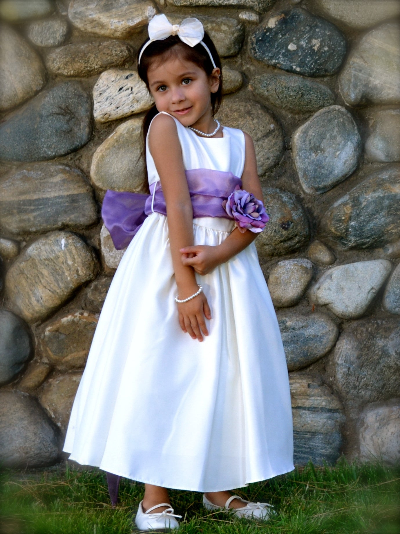 Gorgeous ivory poly silk flower girl dress with organza sash just flower girl dress just unique boutique mightylinksfo