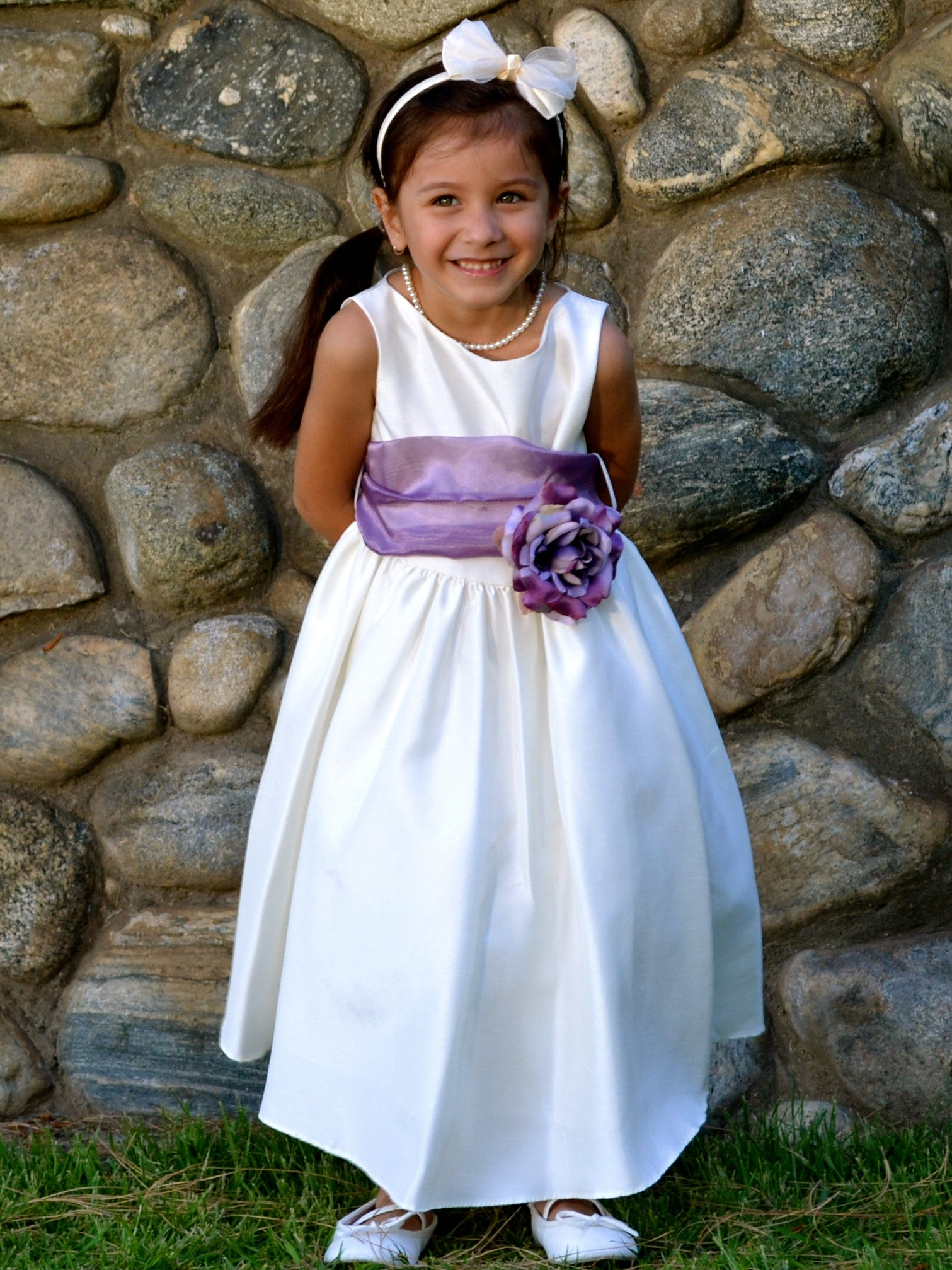 Gorgeous Ivory Poly Silk Flower Girl Dress With Organza Sash Just