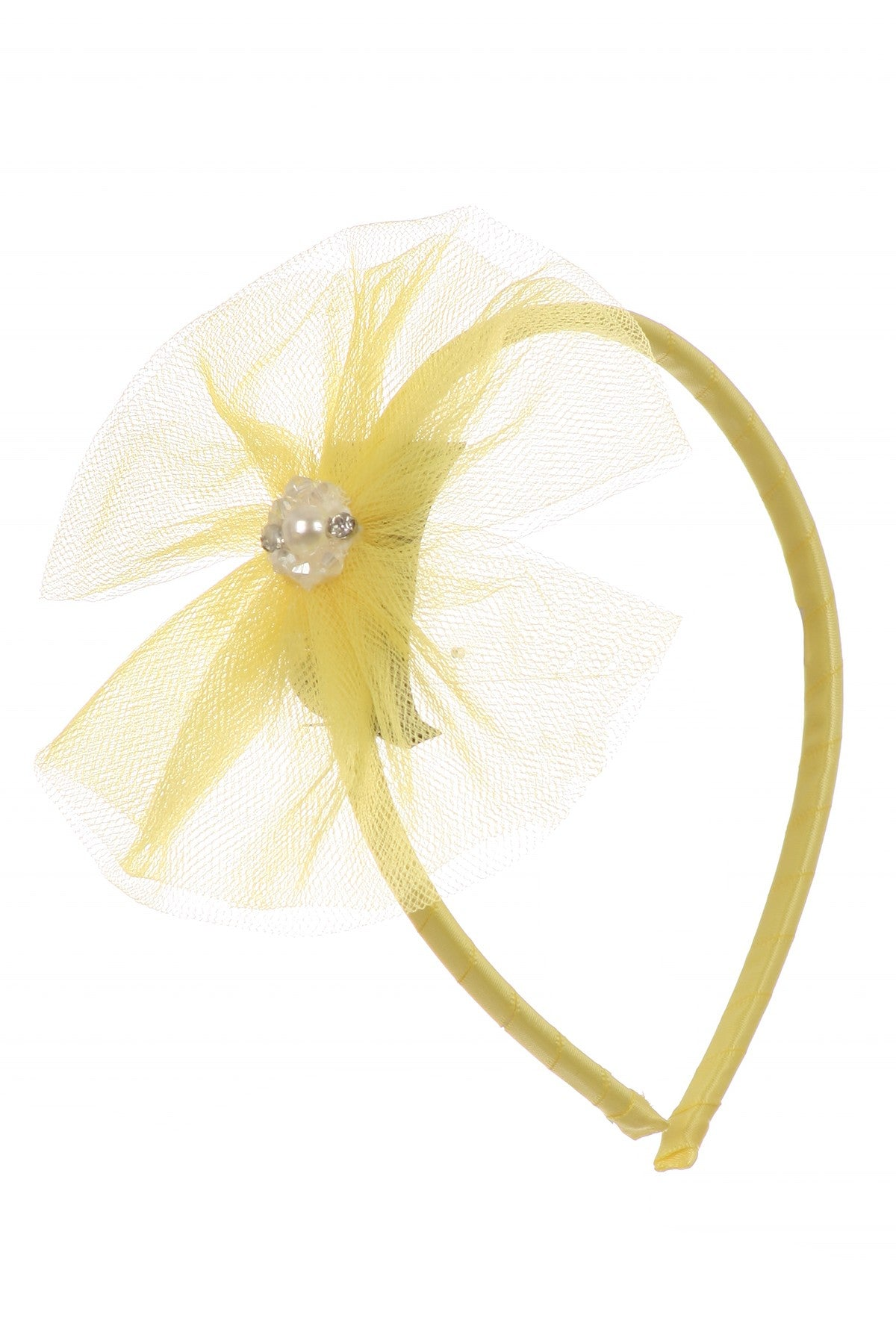 Headband with illusion tulle bow and pearl accent.