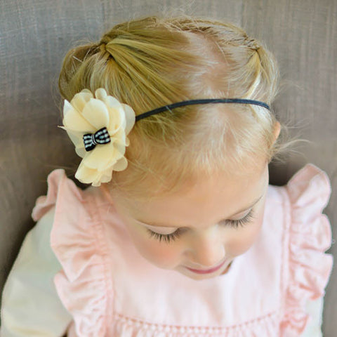 Handmade Champagne and black headband