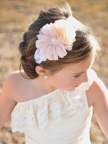 Sweet Cotton Lace Headband with Chiffon Flower