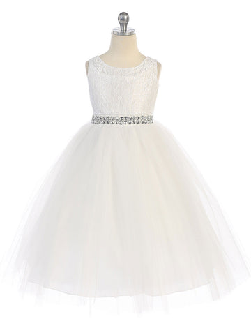 Cotton Lace Dress with Tulle Layer Skirt & Rhinestone Belt