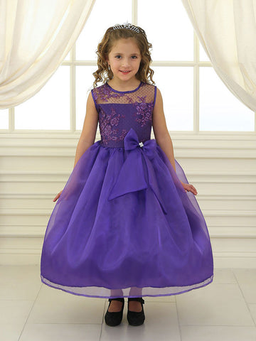 Purple Organza Dress with Embroidered Lace