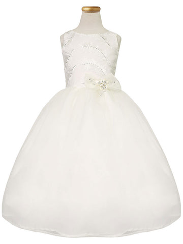 A-line Organza Dress with Feather Details