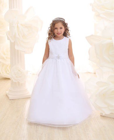 A-line Floor Length Organza Dress with pin on Brooch